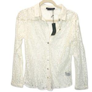 BCBG Max Azria | Ehite Lace Buttin Fown Top | NWT